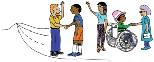 Cartoon characters saying farewell